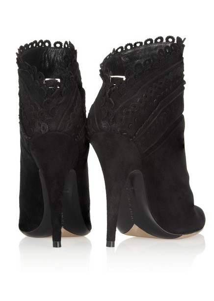 Back View of the Harmony scalloped suede ankle boots