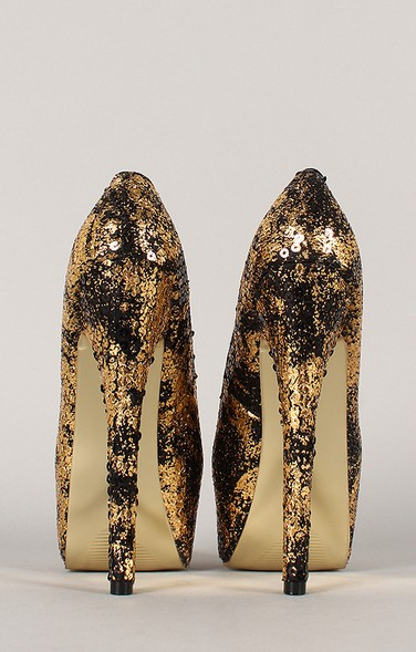 Back View of the Privileged Anouk Two Tone Sequin Almond Toe Stiletto Pump