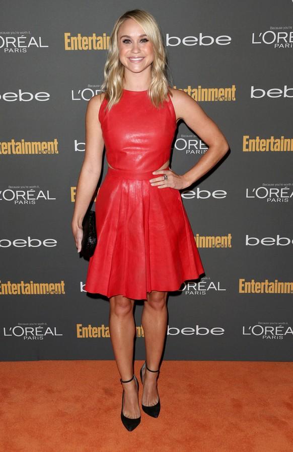 Becca Tobin: Red Hot Leather Dress