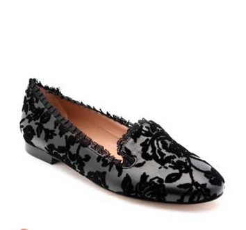 Black Leather & Cut Velvet Flat