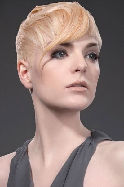 Blonde Pixie Haircut with Side Waved Bangs