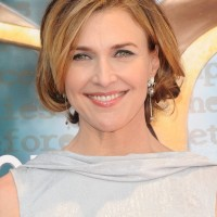 Brenda Strong Short Hairstyles: Slightly Layered Bob Curled Under With Side-parted Fringe