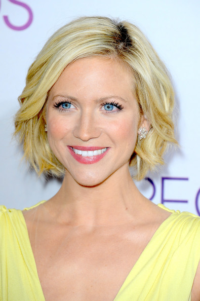 Brittany Snow Short Hairstyles: Chin-Length Bob with Loos Spiral Curls in Bright Color