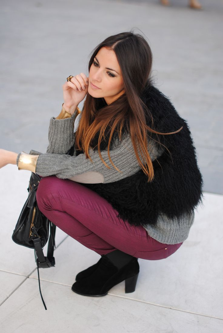 Grey Sweater with Burgundy Pants