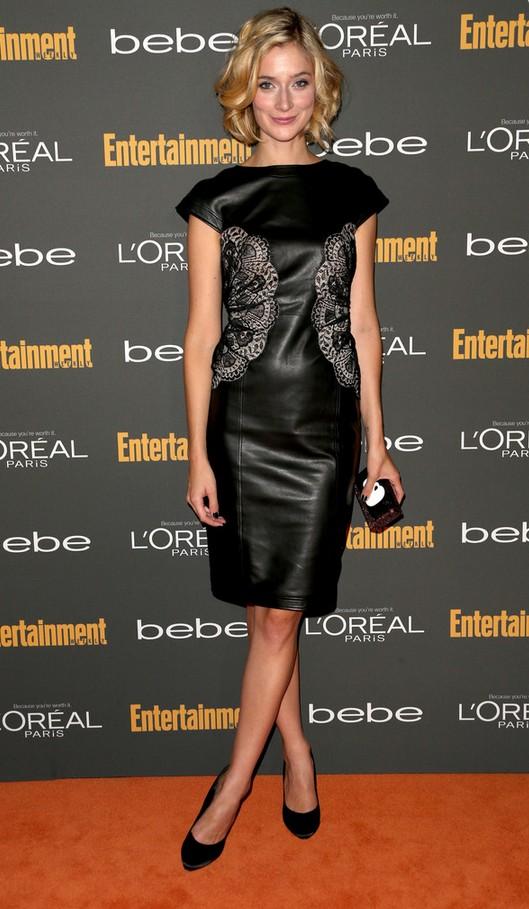 Caitlin Fitzgerald: Embellished Black Leather Dress