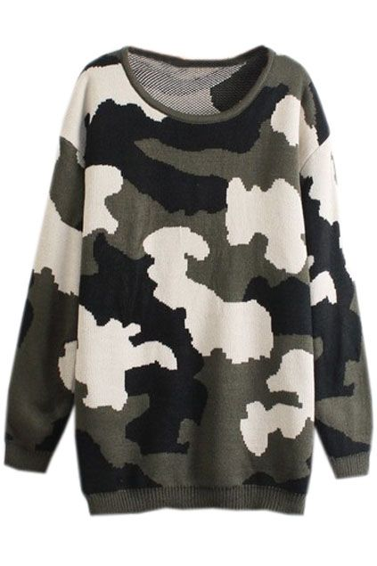 Camouflage Army Green Jumper - The Latest Street Look