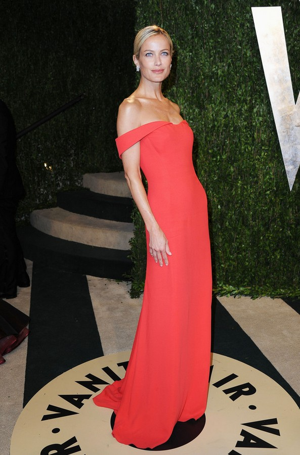Carolyn Murphy: Orange Off-the-Shoulder Dress by Clavin Klein