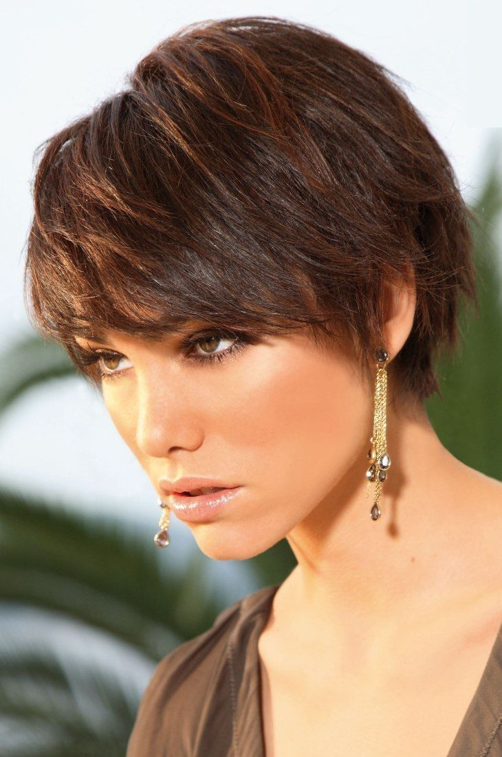Casual Wispy Short Brunette Hairstyle