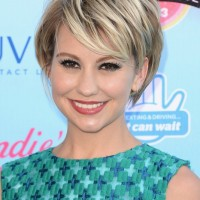 Celebrity Pixie Cut: Cute Layered Short Hairstyle with Side Swept Bangs