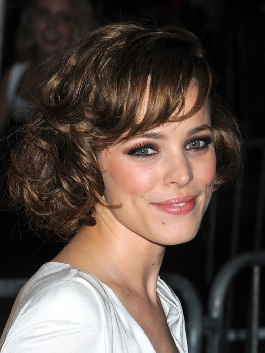 Celebrity Short Wavy Curly Hairstyle with Side Swept Bangs