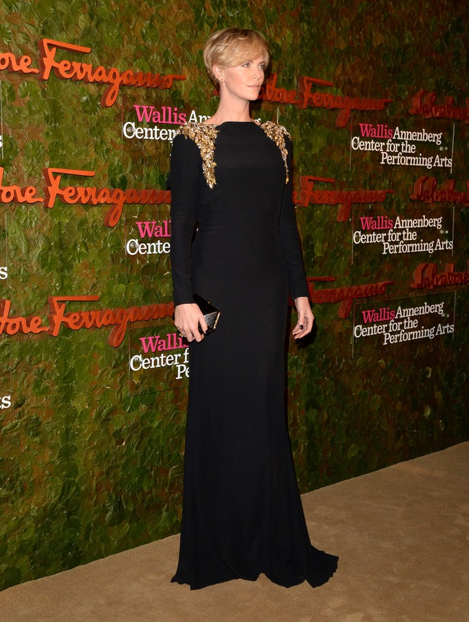 Charlize Theron: Black Alexander McQueen Evening Dress with Shoulder Embellishments