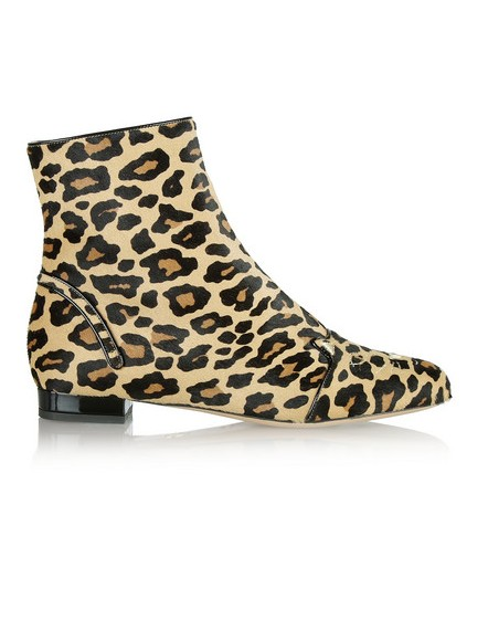 Charlotte Olympia Puss in Boots Embrodered Calf Hair Anker Boots
