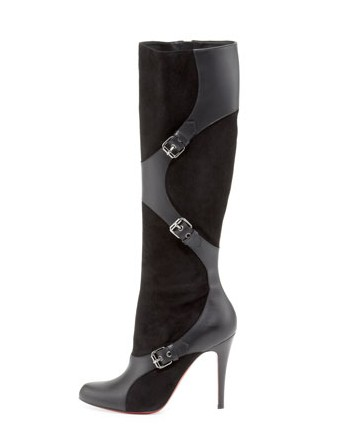 Christian Louboutin Suede-Leather Harness Boot