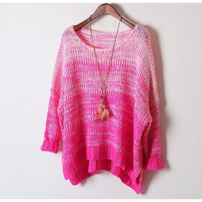 Chunky Neon Ombré Relaxed Dolman Sweater for Women 2014