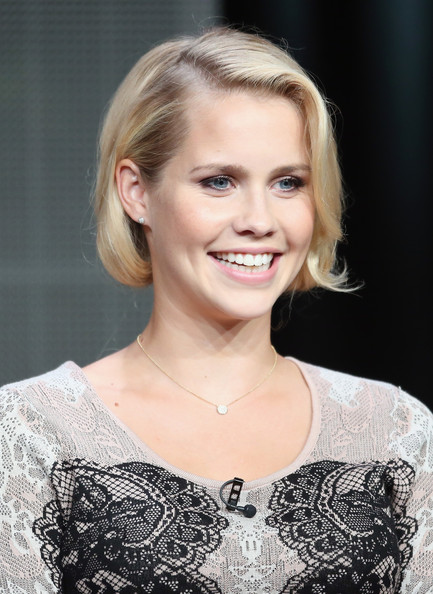 Claire Holt Short hairstyles: Curly Blonde Bob with Slightly Curled End and Side Parted Bangs