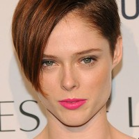 Coco Rocha's Short Hairstyle: Brown Highlighted Pixie Undercut with Long Side Bangs