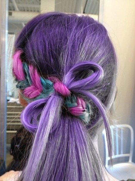 Colored Braided Hairstyle with A Bow