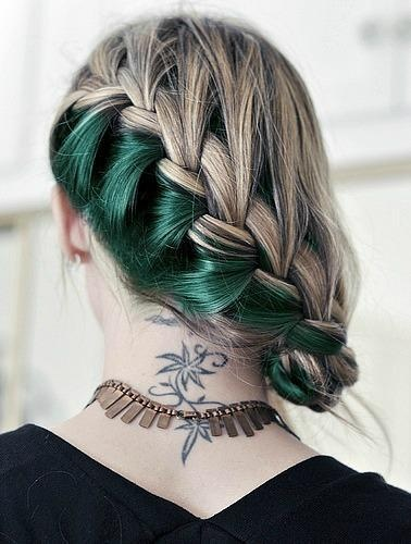 Colored Highlighted Braided Hairstyle