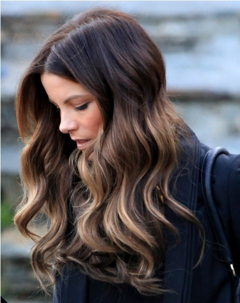 Colored Highlighted Hairstyle for Dark Hair