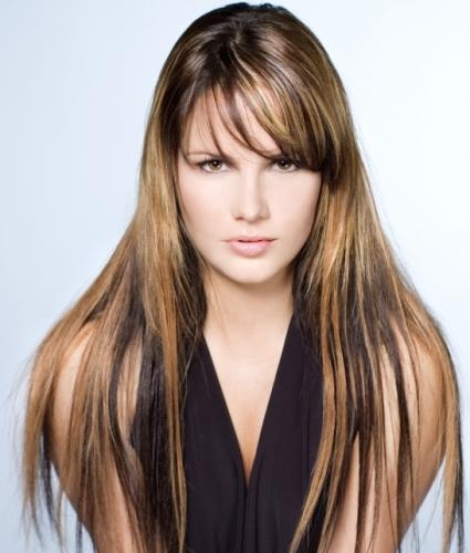 Colored Highlighted Hairstyle for Straight Dark Hair