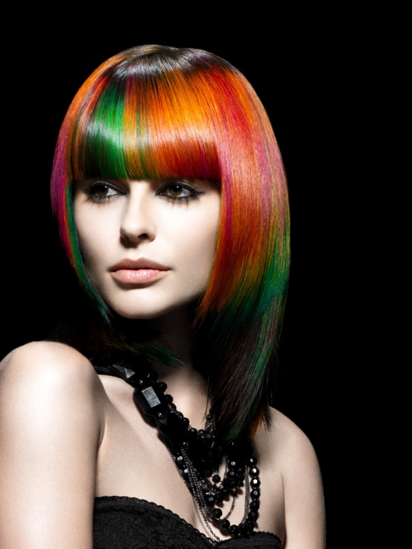 Colored Highlighted Long Straight Hairstyle