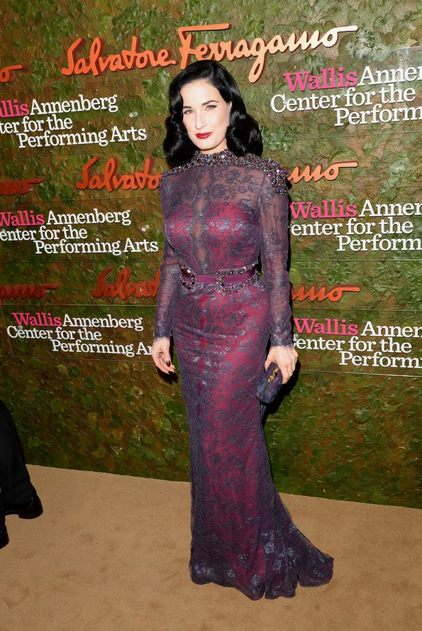 Dita Von Teese: Purple Lace Carolina Herrera Featuring Evening Dress Beaded Shoulder Accents
