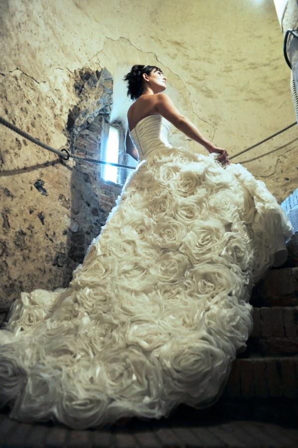 Donna Lee Designs - 'Amberleigh' Wedding Dress with Flowery Ruffles