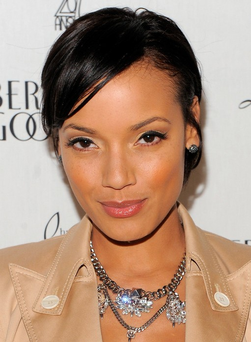 Easy Hairstyles: Short Sleek Black Hairstyle with Side Swept Bangs