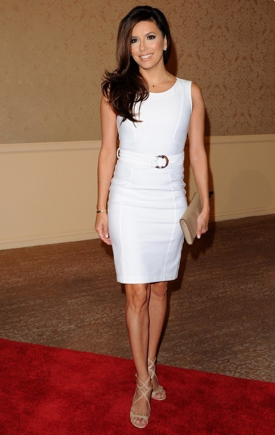 Eva Longoria: White Gucci Cocktail Dress