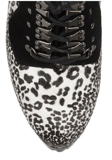 Front View of the Alaïa Animal-print calf hair and suede ankle boots