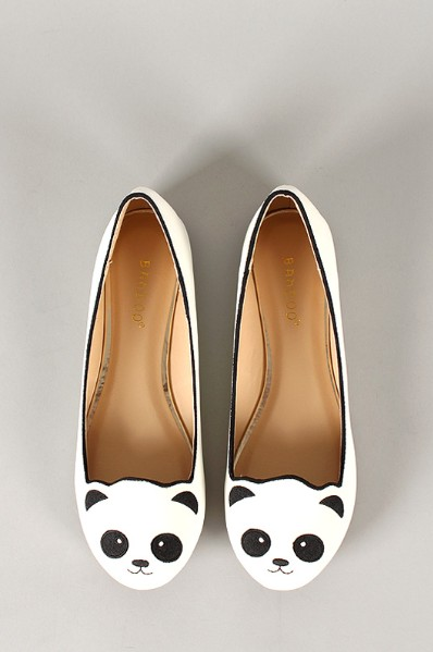 Front View of the Bamboo Lula-80 Embroidered Panda Face Round Toe Loafer Flat