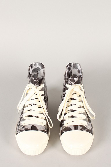 Front View of the Jelly Leopard Lace Up Sneaker