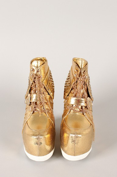Front View of the Metallic Studded Pyramid Chain Lace Up Wedge Sneaker