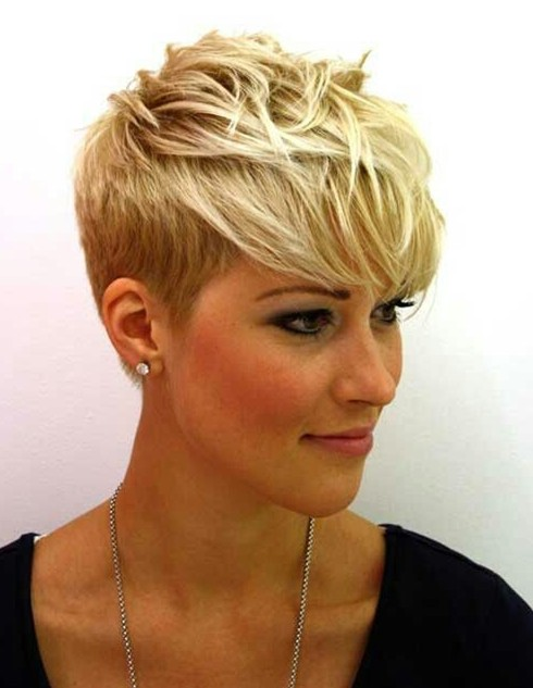 Hairstyle for 2014: Trendy Short Blonde Pixie Cut with Bangs for Women