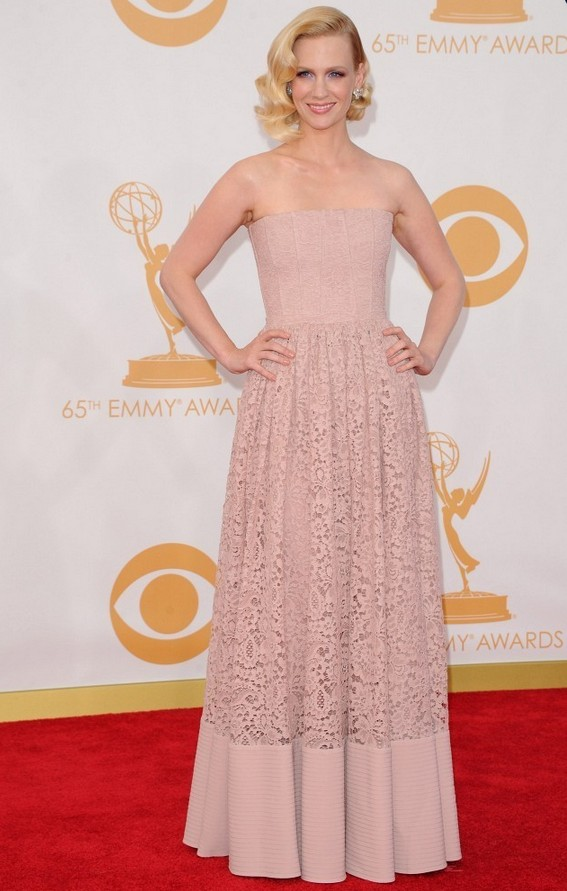 January Jones: Pale Pink Givenchy Strapless Dress
