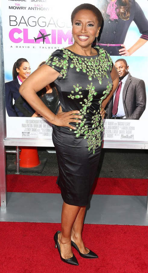 Jenifer Lewis: Black Cocktail Dress with Green Appliques