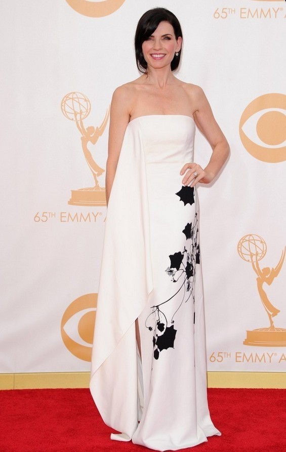 Julianna Margulies: Reed Krakoff Strapless Dress with a Floral Print