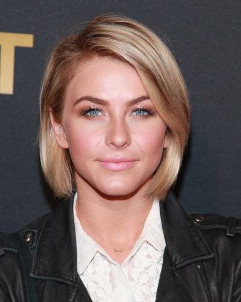 Julianne Hough Short Hairstyles: Classic Blonde Bob with Side-Parted fringe