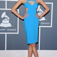 Karlie Kloss: Blue Cutout Dress by Michael Kors