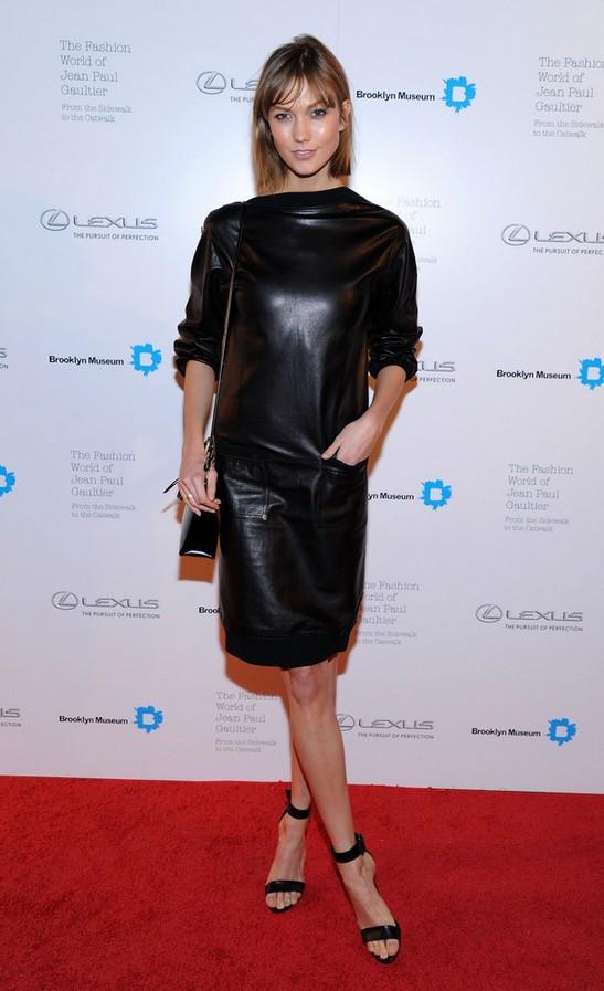 Karlie Kloss: Fierce Black Leather Dress by Jean Paul Gaultier