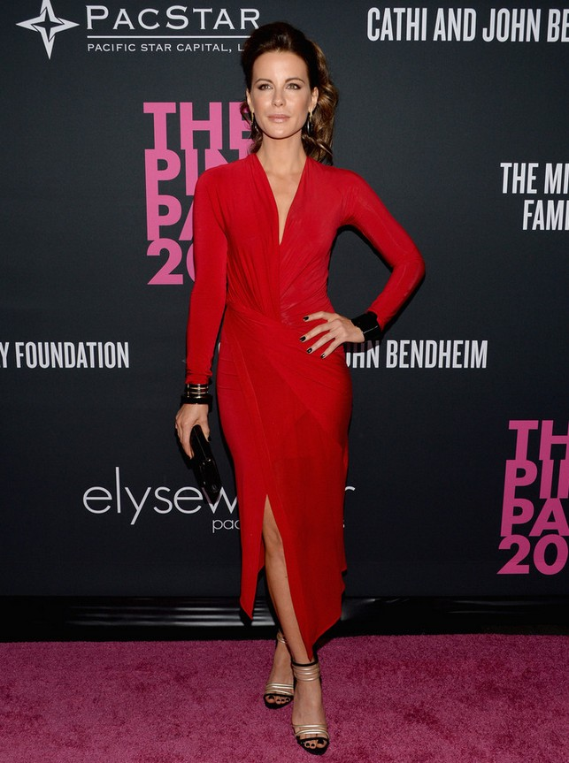 Kate Beckinsale: Red Donna Karan Dress with a Thigh-high Slit