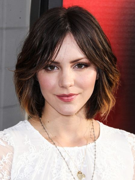Katharine McPhee Short Hairstyles: Middle-parted Choppy 70's bob with streaks