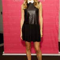 Kristin Cavallari: Mini Black Leather Dress Featuring a White Collar