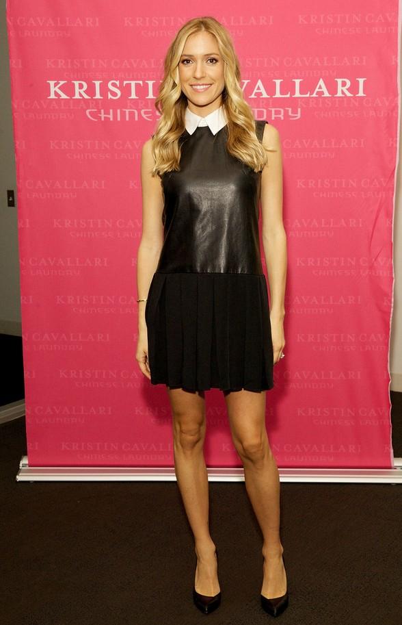 Kristin Cavallari: Mini Black Leather Dress Featuring a White Collar