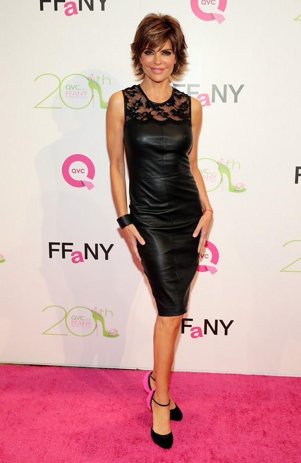 Lisa Rinna: Black Lace-panel Leather Dress