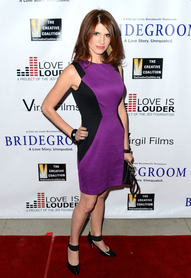 Lizzy Sherman: Modern Purple and Black Cocktail Dress