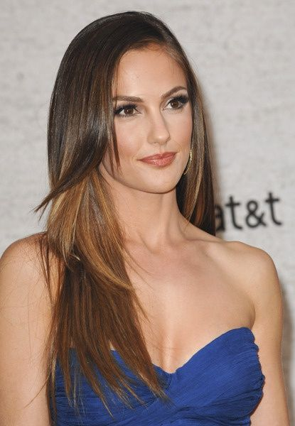 Long Straight Center Parted Brunette Hairstyle