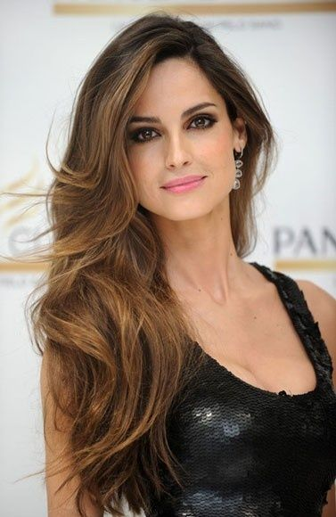 Long Wavy Side Parted Brunette Hairstyle