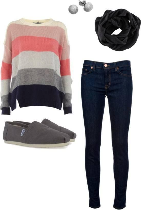Coral Striped Sweater Outfit for 2018