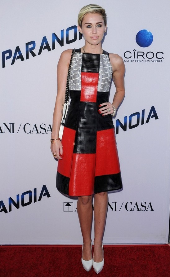 Miley Cyrus: Black-and-red Patchwork Leather Dress by Proenza Schouler